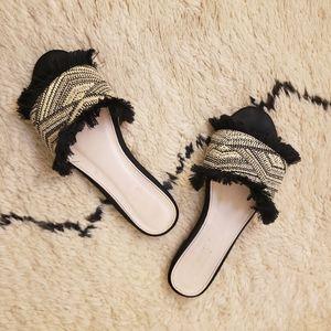 Catherine Malandrino Black and Cream Slides